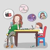 일러스트, 라이프스타일, 엄마, 딸, 가족, 취미, 쇼핑 (상업활동), 공부, 식탁
