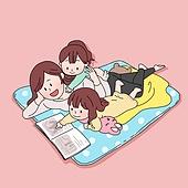 일러스트, 라이프스타일, 엄마, 딸, 가족, 취미, 책, 휴식