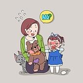 일러스트, 라이프스타일, 엄마, 딸, 가족, 취미, 울음 (얼굴표정)