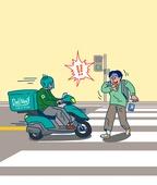 일러스트, 배달부, 배달음식, 스쿠터 (자동차류), 교통사고, 상해보험, 사고재해