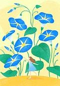 꽃, 사람, 소녀, 미니어쳐 (공예품), 여름, 나팔꽃