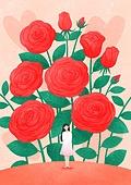 꽃, 사람, 소녀, 미니어쳐 (공예품), 여름, 장미