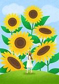 꽃, 사람, 소녀, 미니어쳐 (공예품), 여름, 해바라기