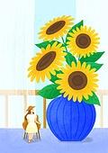 꽃, 사람, 소녀, 미니어쳐 (공예품), 여름, 해바라기, 꽃병