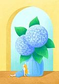 꽃, 사람, 소녀, 미니어쳐 (공예품), 여름, 수국
