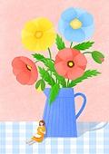 꽃, 사람, 소녀, 미니어쳐 (공예품), 여름, 양귀비, 양귀비 (온대성꽃), 꽃병