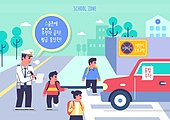 벡터 (일러스트), 스쿨존, 도로교통법, 운전, 사고, 학교건물 (교육시설), 자동차, 어린이 (나이), 횡단보도
