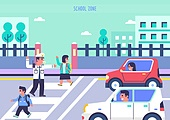 벡터 (일러스트), 스쿨존, 도로교통법, 운전, 사고, 학교건물 (교육시설), 자동차, 어린이 (나이), 횡단보도, 경찰
