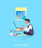 사람, 학생, 중고등학교 (학교건물), 대학수학능력시험 (시험), 수험생, 온라인강사 (미래신종직업), 인터넷강의 (인터넷), 교복