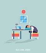 사람, 학생, 중고등학교 (학교건물), 대학수학능력시험 (시험), 수험생, 인터넷강의 (인터넷), 교복, 잠 (휴식)