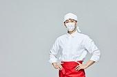 상인 (소매업자), 조리복 (방호용품), 코로나19 (코로나바이러스), 식음료산업 (주제), 미소