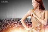 그래픽이미지, 합성, 도시, 부동산, 금융, 5G, 여성, 드레스, 빛효과