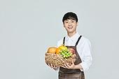 30대 (장년), 남성, 상인 (소매업자), 과일, 과일상자 (상자), 미소