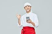 청년 (성인), 남성, 요리사, 조리복 (방호용품), 상인 (소매업자), 스마트폰, 미소, OK (손짓)