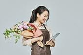 여성, 소매업자, 시장상인, 상인 (소매업자), 미소, 꽃다발, 꽃가게 (가게)
