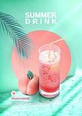 여름, 음료, 카페, 차가운음료 (무알콜음료), 시원함 (컨셉), 잎, 복숭아, 주스 (차가운음료)