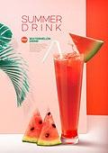 여름, 음료, 카페, 차가운음료 (무알콜음료), 시원함 (컨셉), 잎, 수박주스, 주스 (차가운음료)