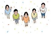 노인 (성인), 장년 (성인), 희망 (컨셉), 밝은표정, 웃음 (얼굴표정), 탑앵글 (카메라앵글), 꽃가루, 웨이빙 (제스처)