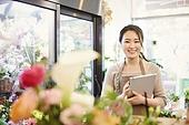 여성, 꽃가게 (가게), 판매업 (직업), 플로리스트, 미소