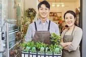 여성, 꽃가게 (가게), 판매업 (직업), 플로리스트, 미소, 부부, 남성, 화분, 화초
