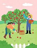 일러스트, 농작물 (식물), 농산물시장, 시골풍경 (교외전경), 농촌직업, 귀농