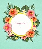 종이 (재료), 페이퍼아트, 여름, 꽃, 열대과일 (과일), 프레임, 하비스쿠스 (열대꽃)
