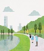 수채화 (회화기법), 여름, 풍경 (컨셉), 공원, 사람, 나무