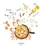 수채화 (회화기법), 음식, 레시피, 음식재료, 요리 (음식상태), 올리브오일, 감바스, 감바스 (슈림프-해산물)