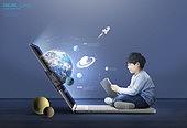 그래픽이미지, 사회이슈 (주제), 교육 (주제), 공부, 수업중 (교육), 인터넷강의 (인터넷), 가상현실 (컨셉), 비대면 (사회이슈), 소년