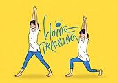 홈트레이닝 (운동), 운동, 스트레칭, 여성 (성별), 청년 (성인), 행동 (모션), 런지, 운동복, 레깅스