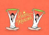 홈트레이닝 (운동), 운동, 스트레칭, 여성 (성별), 청년 (성인), 행동 (모션)