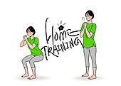 홈트레이닝 (운동), 운동, 스트레칭, 여성 (성별), 청년 (성인), 행동 (모션), 레깅스, 스쿼트
