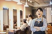 남성, 미용실 (상점), 헤어디자이너, 서비스, 미소, 밝은표정