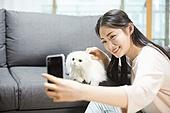 라이프스타일, 휴식 (정지활동), 행복, 고양이 (고양잇과), 반려동물 (길든동물), 셀프카메라 (포즈취하기)
