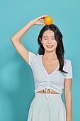 여성, 뷰티, 여름, 오렌지