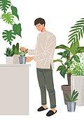 사람, 반려식물, 식물, 여가 (주제), 화분, 취미, 남성 (성별)
