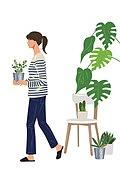 사람, 반려식물, 식물, 여가 (주제), 화분, 취미, 여성 (성별)