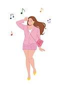 비만 (건장한체격), 여성 (성별), 낙천적 (컨셉), 밝은표정 (감정), 자신감, 자부심 (컨셉), 패션