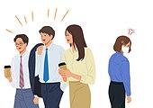 코로나바이러스 (바이러스), 코로나19 (코로나바이러스), 사회적거리두기 (사회이슈), 방심, 마스크 (방호용품), 비즈니스, 화이트칼라 (전문직), 불만