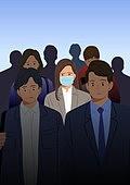 코로나바이러스 (바이러스), 코로나19 (코로나바이러스), 사회적거리두기 (사회이슈), 방심, 마스크 (방호용품), 비즈니스, 화이트칼라 (전문직), 불만, 출퇴근