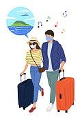 코로나바이러스 (바이러스), 코로나19 (코로나바이러스), 사회적거리두기 (사회이슈), 방심, 마스크 (방호용품), 여행, 여행가방 (짐)