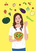 사람, 다이어트, 다이어트 (체형관리), 채소 (음식), 채소