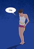 사람, 다이어트, 다이어트 (체형관리), 강박관념 (컨셉), 줄자