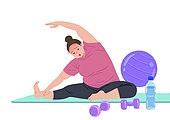 사람, 다이어트, 다이어트 (체형관리), 운동, 비만, 짐볼 (운동기구), 운동매트 (운동기구), 스트레칭