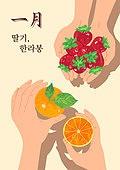 음식, 제철음식, 탑앵글 (카메라앵글), 딸기, 한라봉