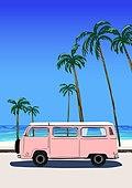 백그라운드, 백그라운드 (주제), 여름, 휴양지, 야자나무 (열대나무), 야자나무, 해변, 캠핑트레일러 (트레일러)