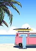 백그라운드, 백그라운드 (주제), 여름, 휴양지, 야자나무 (열대나무), 야자나무, 해변, 바다, 캠핑트레일러 (트레일러)