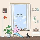 손그림,여름,실내생활,실내활동,사회적거리두기
