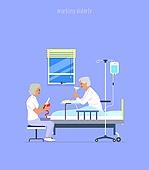 노인 (성인), 구직 (실업), 직업, 병원 (의료시설), 환자 (역할), 환자, 간병인