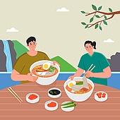사람, 복날, 음식, 보양식, 냉면